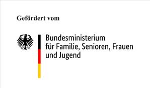 Logo des Bundesministeriums für Familie, Senioren, Frauen und Jugend mit Hinweis: Gefödert vom