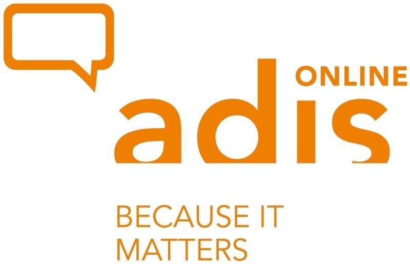 """Logo der Online Beratung von adis mit dem Motto """"because it matters"""""""
