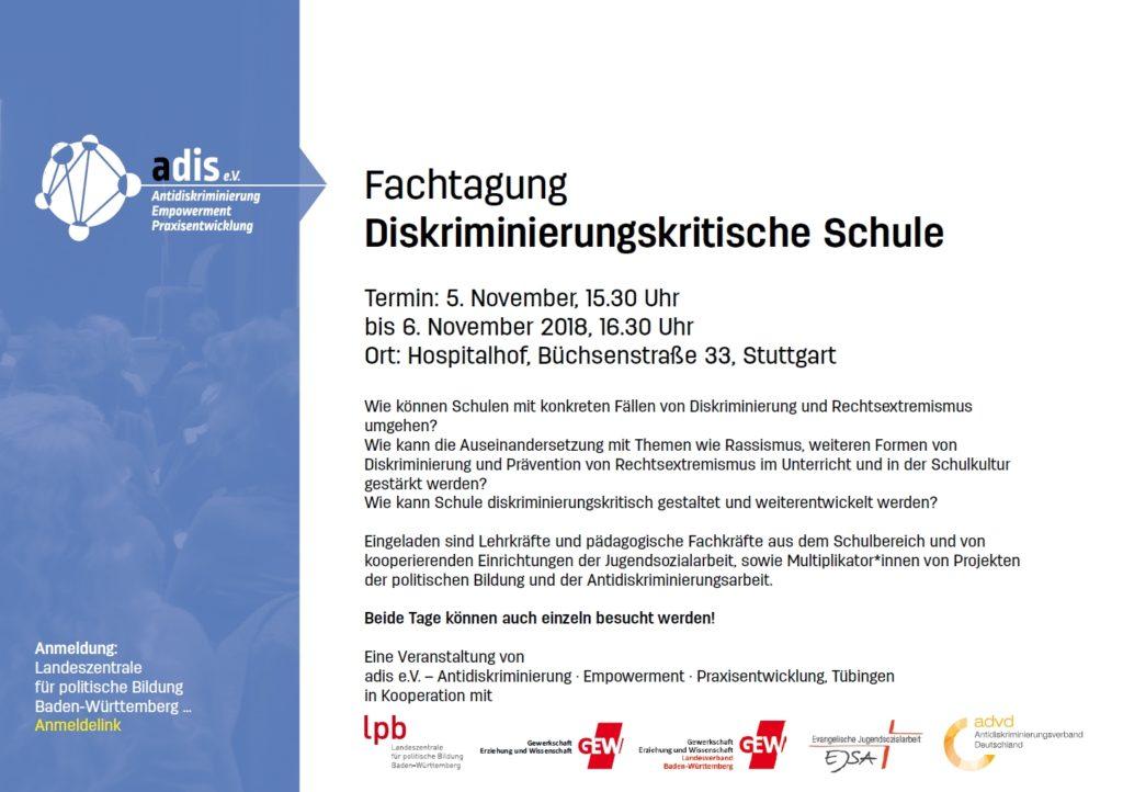 "Screenshot der Ausschreibung zum fachtag ""Diskriminierungskritische Schule"""