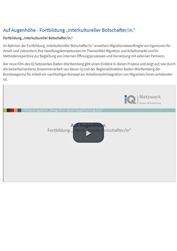 """Auf Augenhöhe Fortbildung """"Interkultureller Botschafter/in"""" und Broschüre: Weiterbildung Interkulturelle Botschafter/in – ein Qualifizierungsangebot für Migrationsbeauftragte der Agenturen und Jobcenter"""