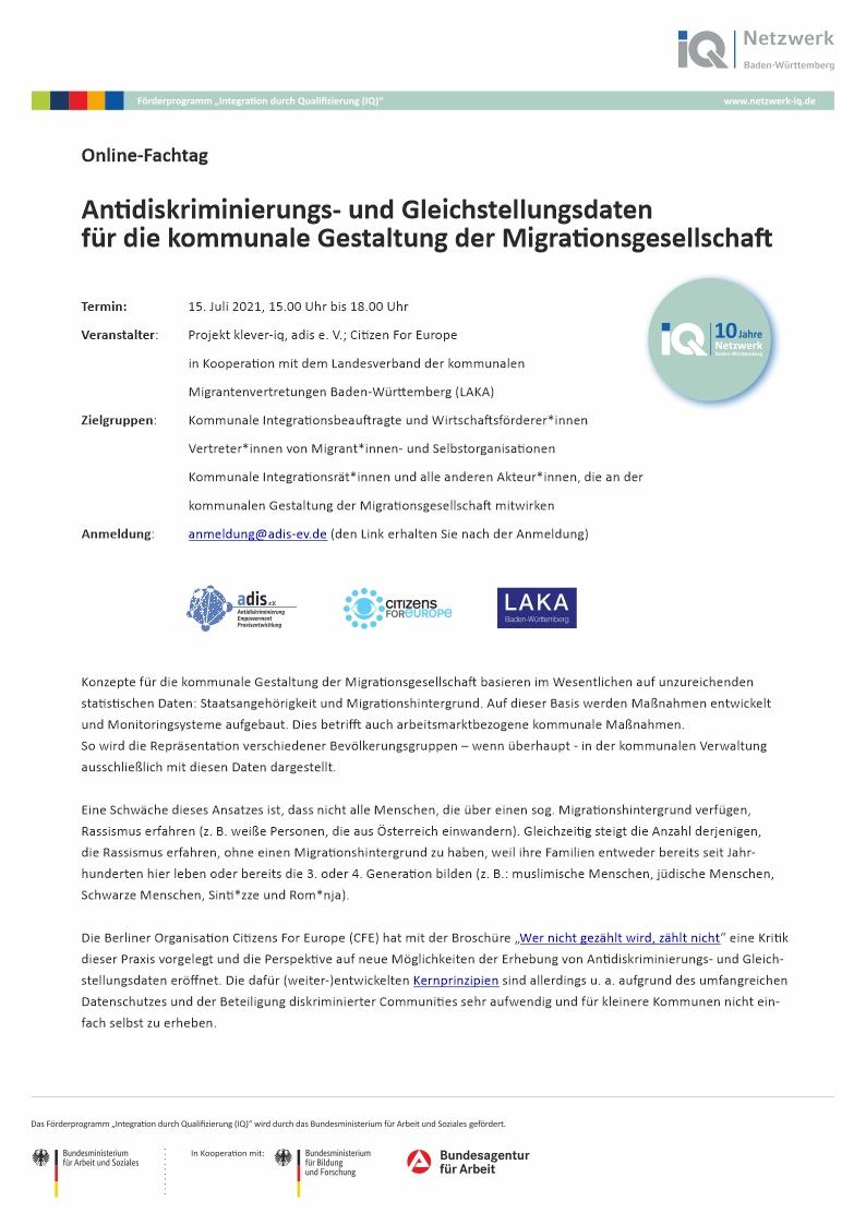 Antidiskriminierungs- und Gleichstellungsdaten für die kommunale Gestaltung der Migrationsgesellschaft
